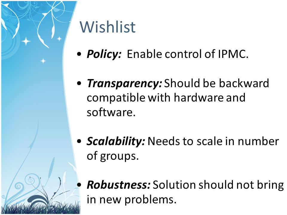 Policy: Enable control of IPMC.