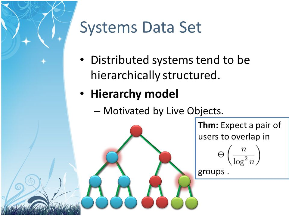 Distributed systems tend to be hierarchically structured.