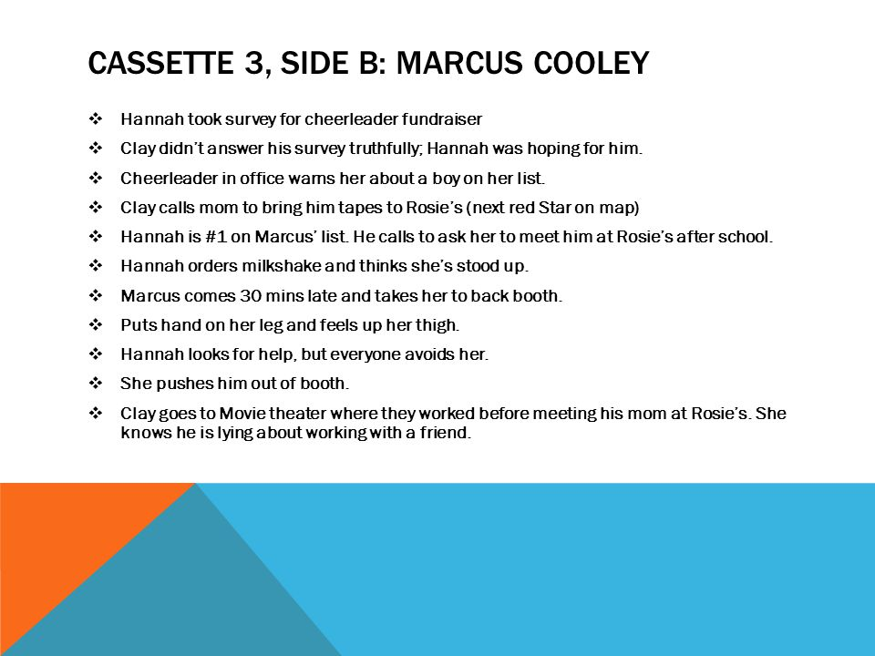 CASSETTE 3, SIDE B: MARCUS COOLEY  Hannah took survey for cheerleader fundraiser  Clay didn't answer his survey truthfully; Hannah was hoping for hi