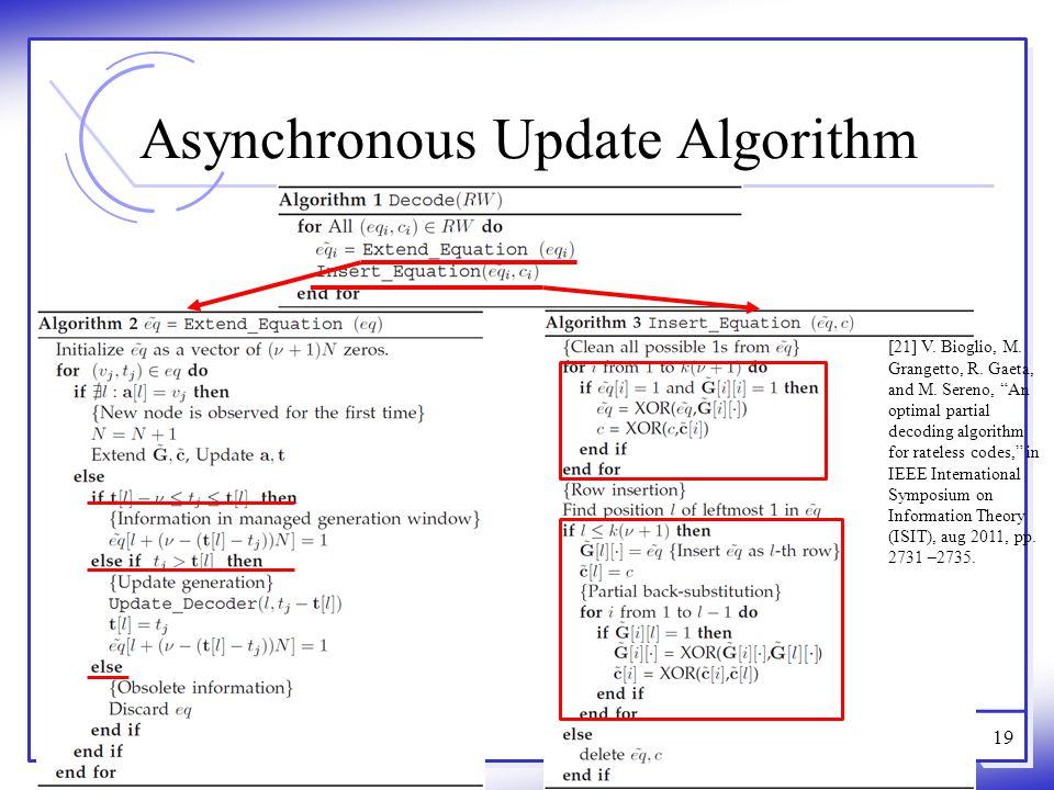 "Asynchronous Update Algorithm 19 [21] V. Bioglio, M. Grangetto, R. Gaeta, and M. Sereno, ""An optimal partial decoding algorithm for rateless codes,"" i"