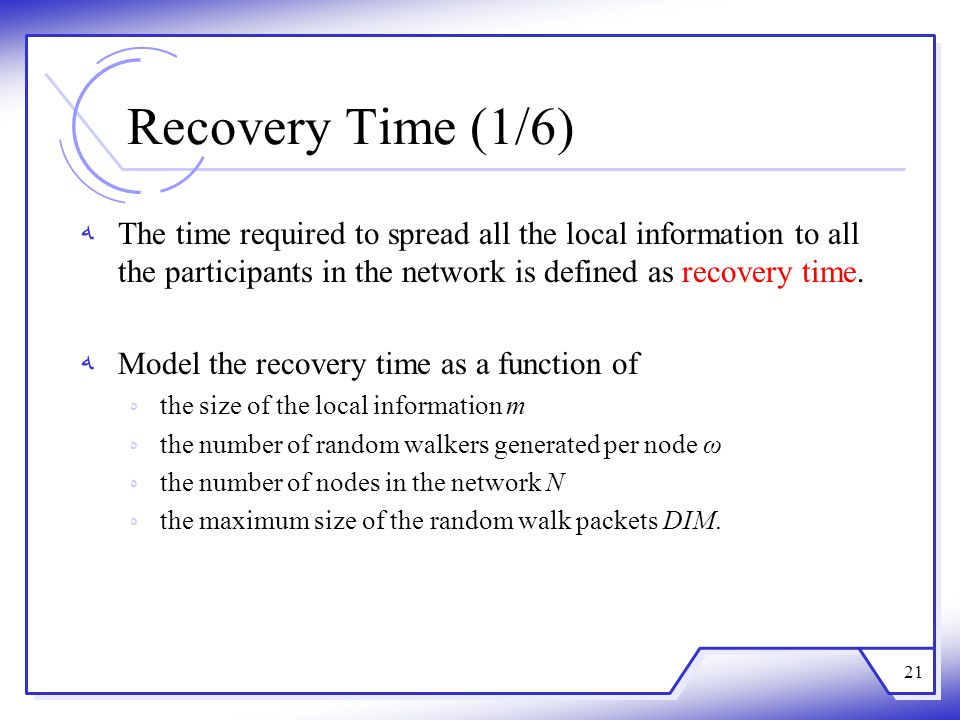 Recovery Time (1/6) ﻪThe time required to spread all the local information to all the participants in the network is defined as recovery time. ﻪModel