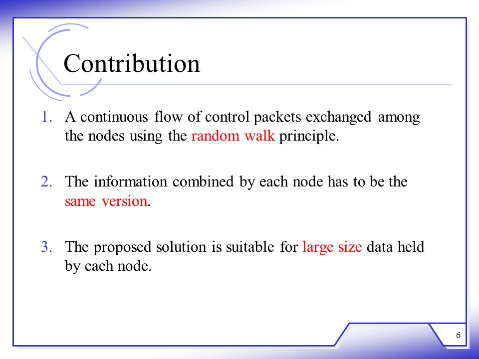 Contribution 1.A continuous flow of control packets exchanged among the nodes using the random walk principle.