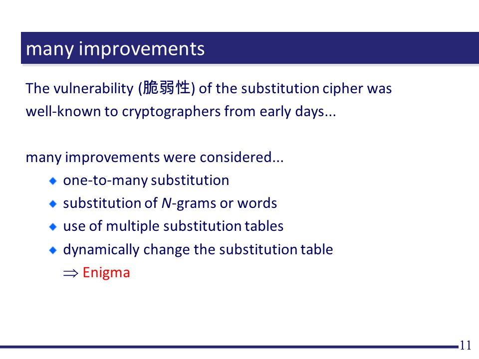 many improvements The vulnerability ( 脆弱性 ) of the substitution cipher was well-known to cryptographers from early days...