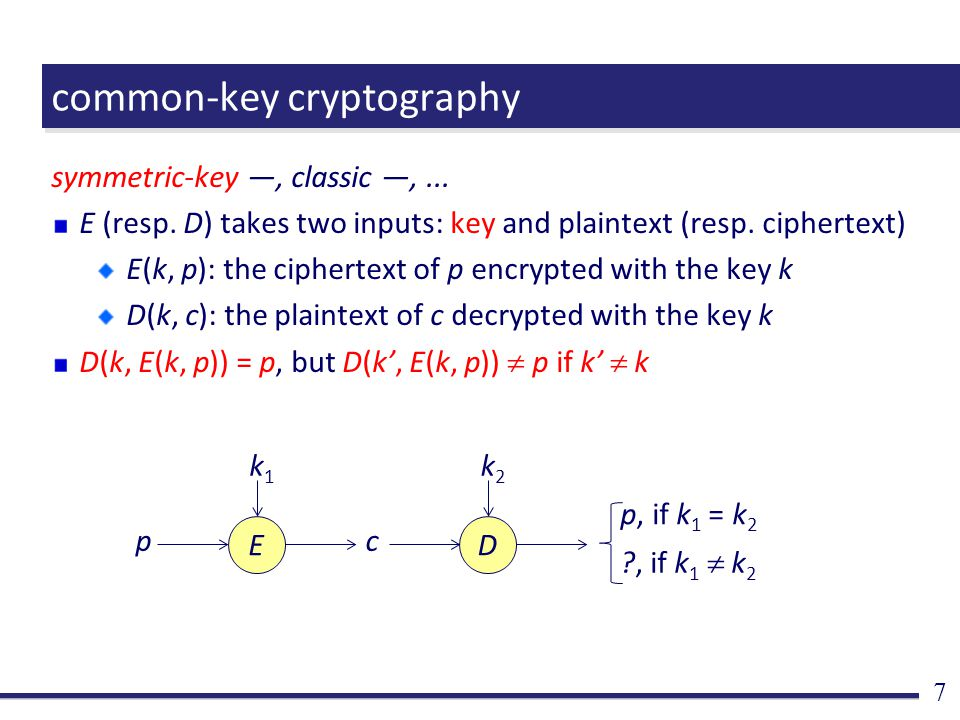 common-key cryptography symmetric-key ―, classic ―,...