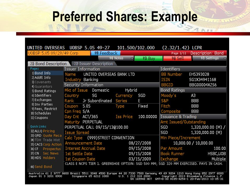 Preferred Shares: Example