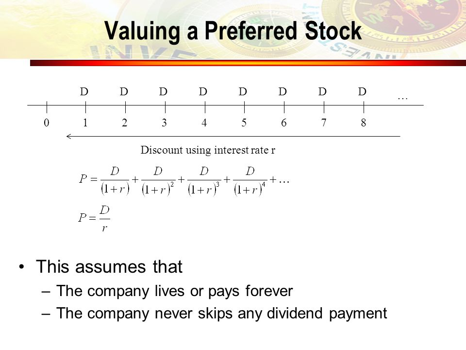 Valuing a Preferred Stock This assumes that –The company lives or pays forever –The company never skips any dividend payment 1 D 2 D 3 D 4 D 5 D 6 D 7