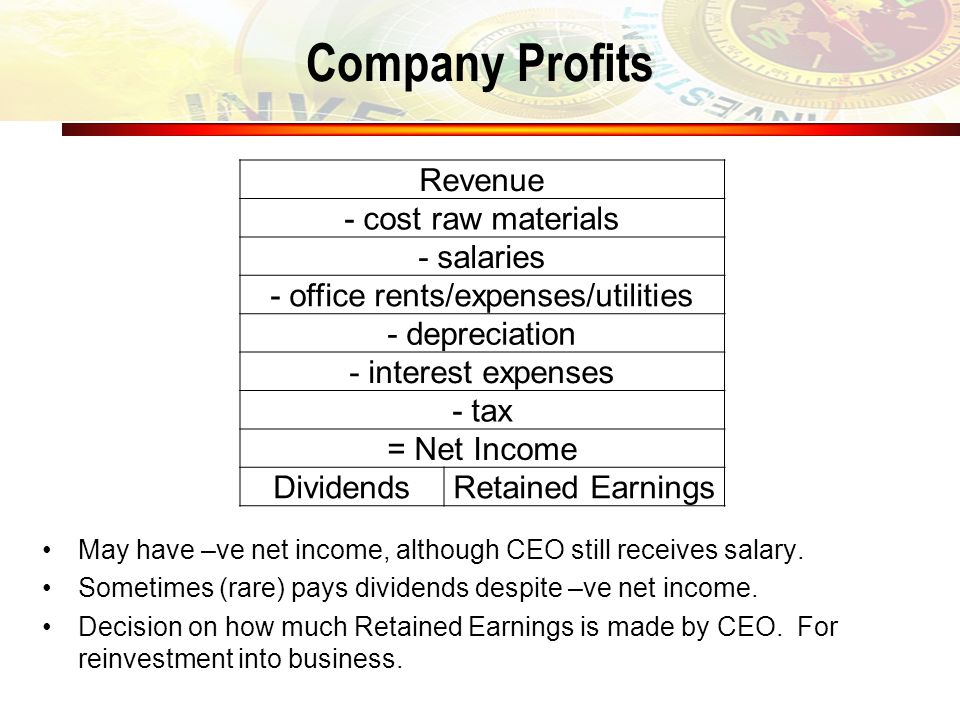 Company Profits Revenue - cost raw materials - salaries - office rents/expenses/utilities - depreciation - interest expenses - tax = Net Income Divide