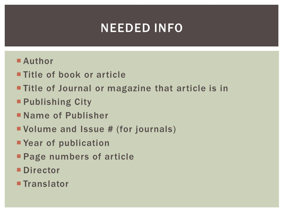  All citation formats operate in a two step process  In-text citations: parenthetical information inside the body of the essay/report itself that leads the reader to the  Reference page: which contains the entirety of each source's publication info  Where MLA, APA, Chicago, etc.