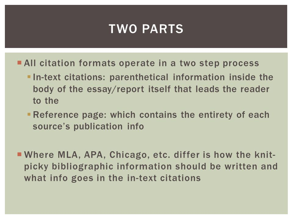  All citation formats operate in a two step process  In-text citations: parenthetical information inside the body of the essay/report itself that le
