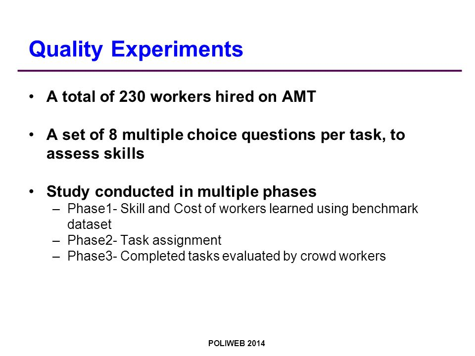 POLIWEB 2014 Quality Experiments A total of 230 workers hired on AMT A set of 8 multiple choice questions per task, to assess skills Study conducted in multiple phases –Phase1- Skill and Cost of workers learned using benchmark dataset –Phase2- Task assignment –Phase3- Completed tasks evaluated by crowd workers