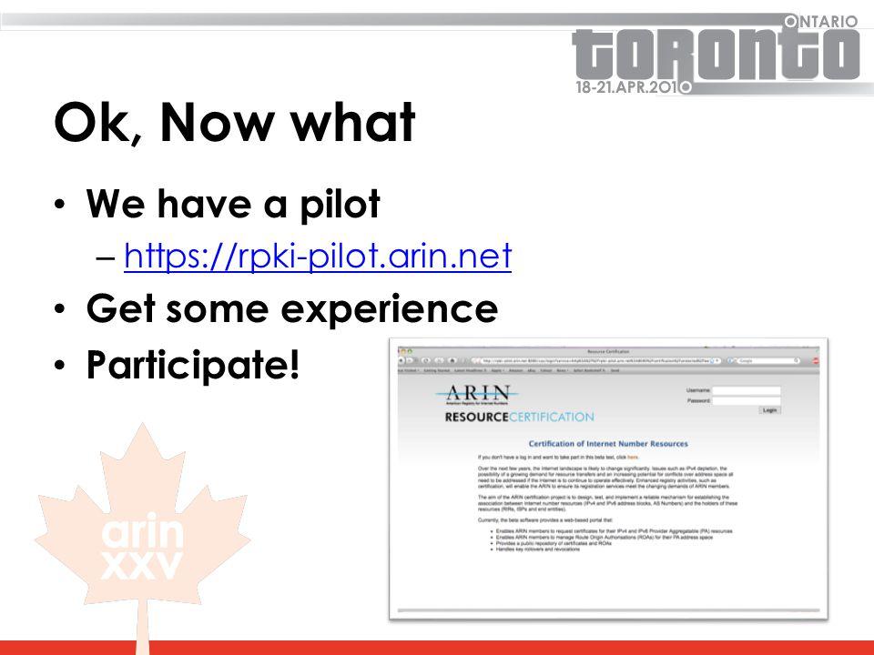 Ok, Now what We have a pilot – https://rpki-pilot.arin.net https://rpki-pilot.arin.net Get some experience Participate!