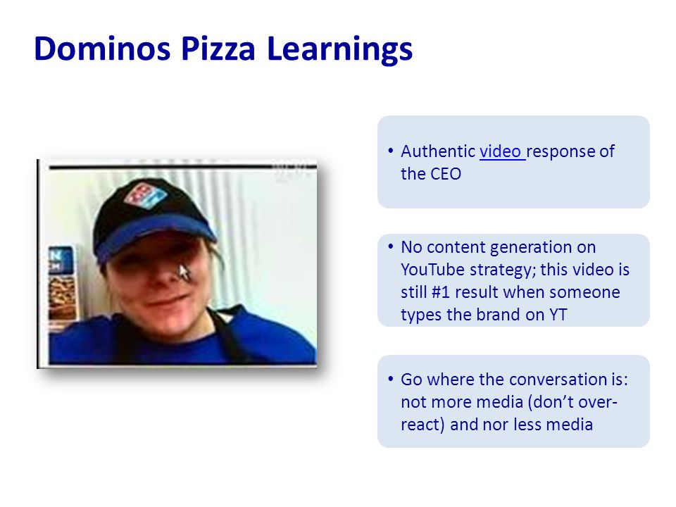 Dominos Pizza Learnings Authentic video response of the CEOvideo No content generation on YouTube strategy; this video is still #1 result when someone types the brand on YT Go where the conversation is: not more media (don't over- react) and nor less media
