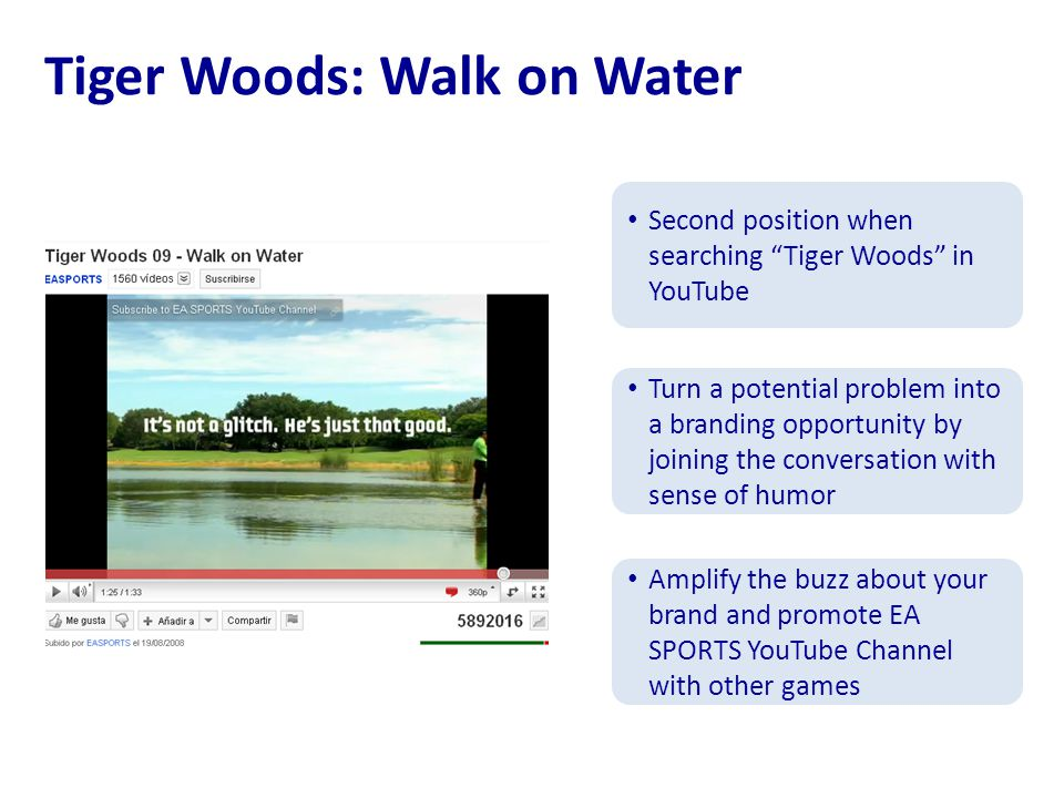 Tiger Woods: Walk on Water Second position when searching Tiger Woods in YouTube Turn a potential problem into a branding opportunity by joining the conversation with sense of humor Amplify the buzz about your brand and promote EA SPORTS YouTube Channel with other games