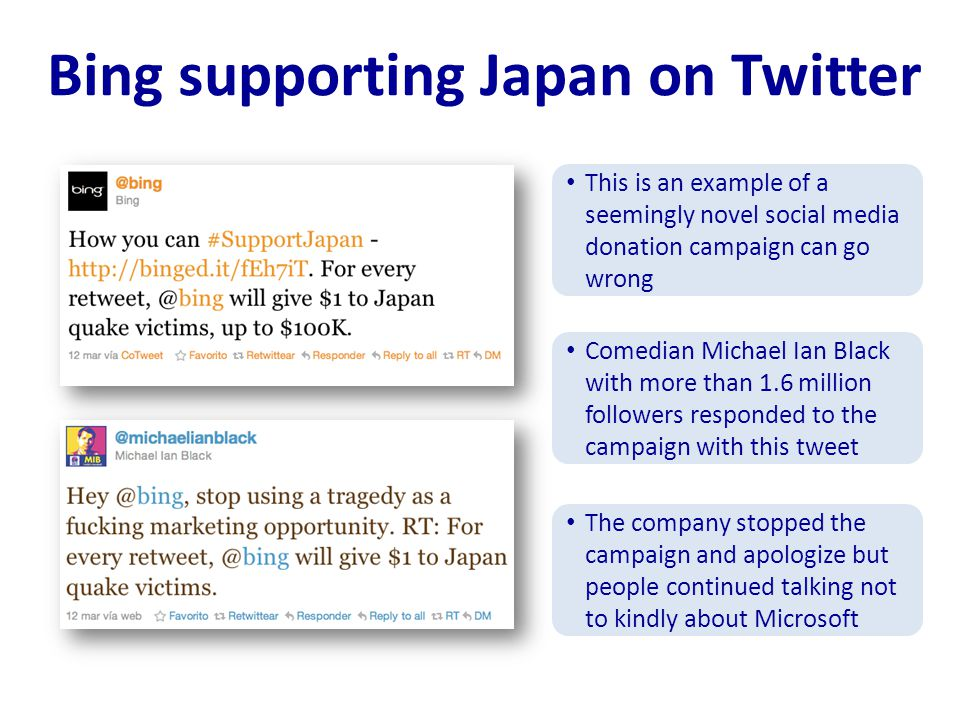 Bing supporting Japan on Twitter This is an example of a seemingly novel social media donation campaign can go wrong Comedian Michael Ian Black with more than 1.6 million followers responded to the campaign with this tweet The company stopped the campaign and apologize but people continued talking not to kindly about Microsoft