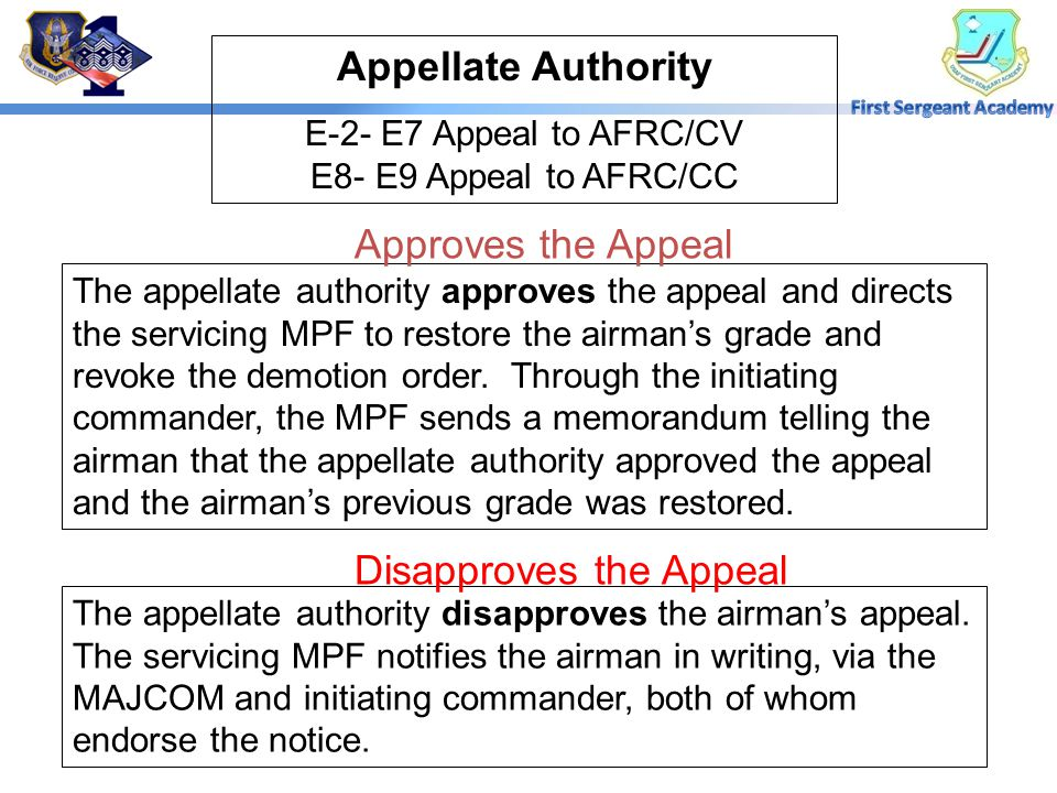 Commander's Action The commander informs the airman of the grade to which he or she is demoted, include the Date of Rank (DOR) and the demotion effect