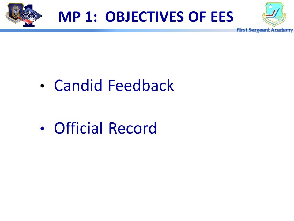 OVERVIEW  Objectives  Individual Responsibilities  Performance Feedback  EPR Management AFI 36-2406 Officer & Enlisted Evaluation Systems AFI 36-2