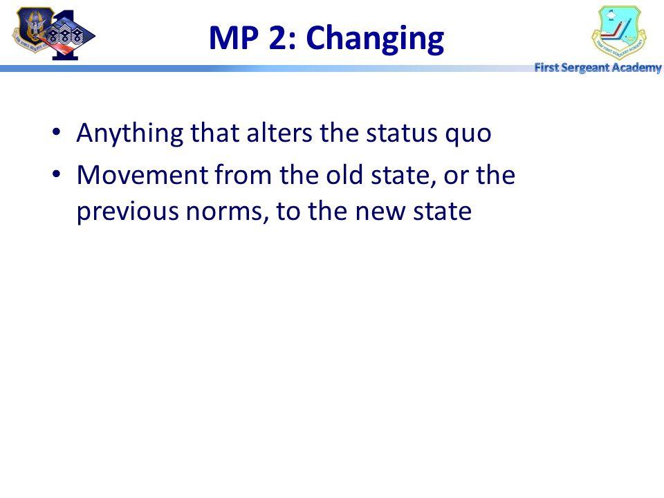 Reducing Resistance –Education & Communication –Participation & Involvement –Facilitation & Support –Incentives –Coercion Evaluation Standards MP 1: U