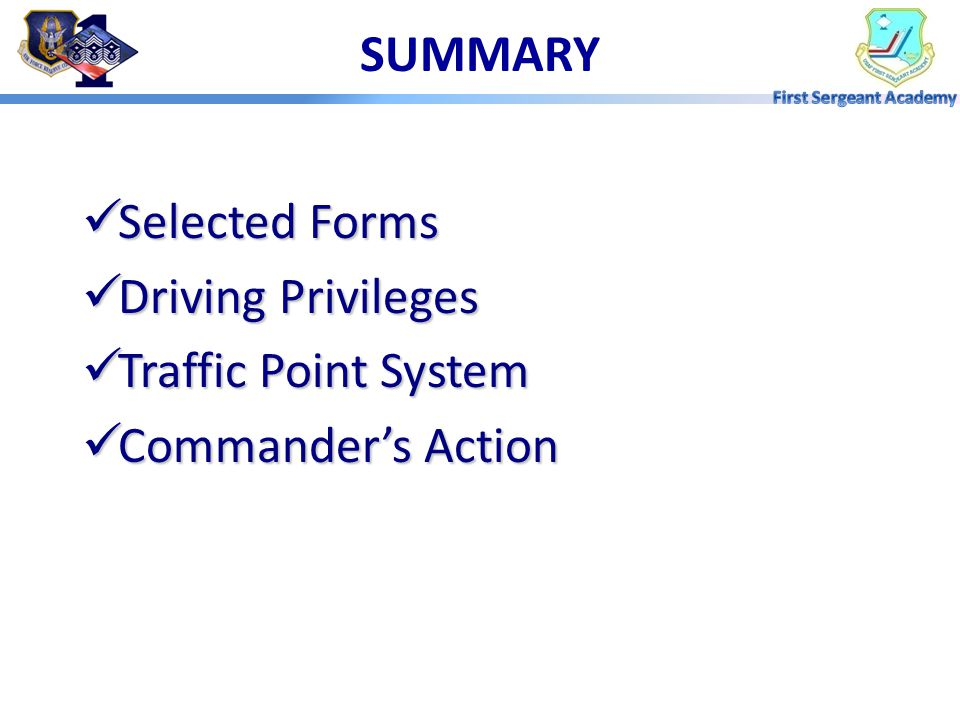 MP 4: COMMANDER'S ACTION Installation Commanders May Require: – Unit CC Advisory Letter – Unit CC Counseling – Drivers Improvement and Rehabilitation