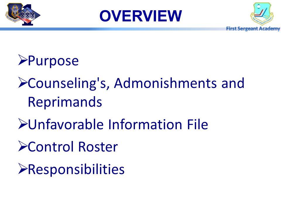 Reference: AFI 36-2907 Unfavorable Information File (UIF) Program REFERENCES
