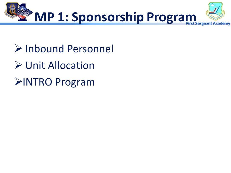 Overview  Sponsorship Program  Base Orientation  Unit Orientation  AFRC