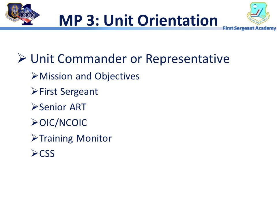 MP 2: Base Orientation  Wing Commander or Representative  Inspector General  Staff Representatives