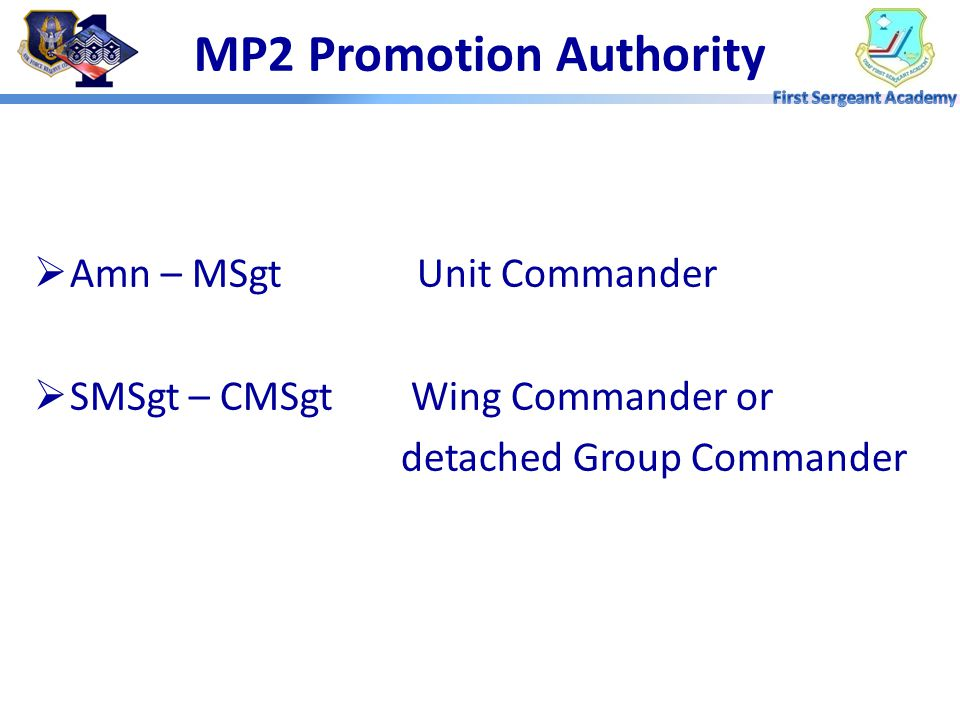 """MP1 Promotion Program Objectives """"The Air Force must be able to identify those people with the highest potential to fill positions of increase grade a"""