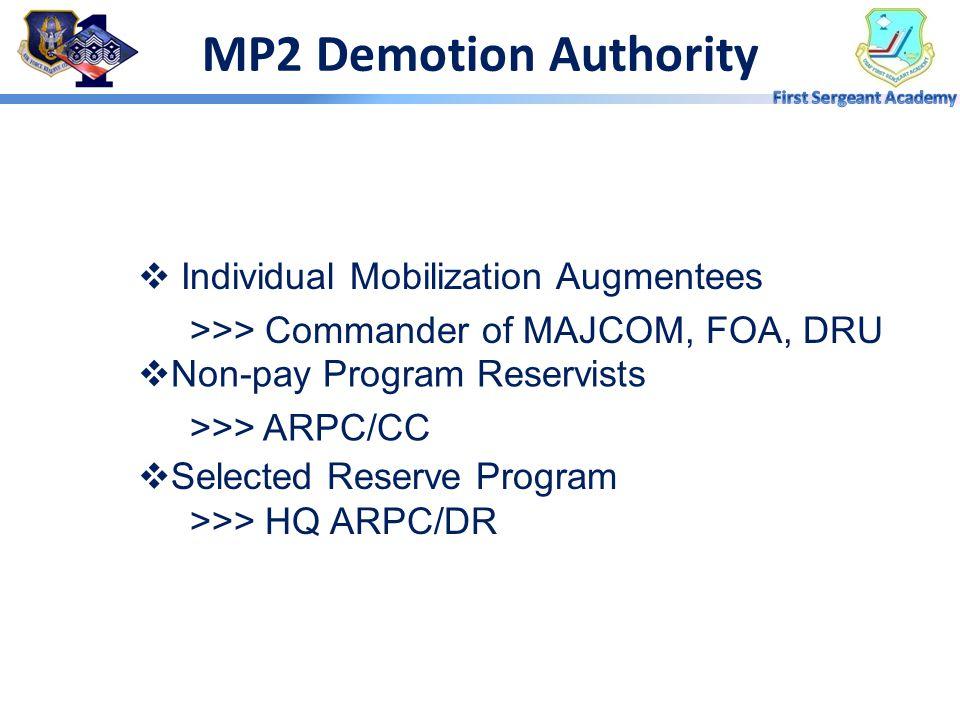 MP2 Demotion Authority  Amn - MSgt >>> SPCMA Commander  SMSgt - CMSgt >>> AFRC/CV  Voluntary >>> Wing DP