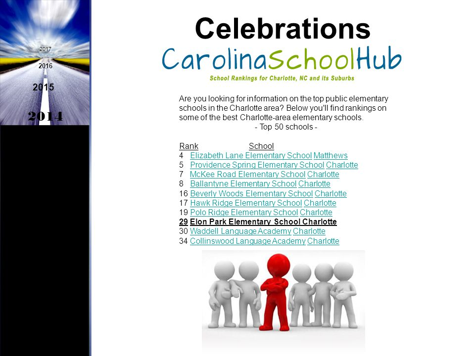 Celebrations 2014 2015 2016 2017 Dorothea Heath, Lisa Maples, Lisa Pagano, and Mary Strawderman have been selected as participants in the Governor's Teacher Network (Most of any CMS School)