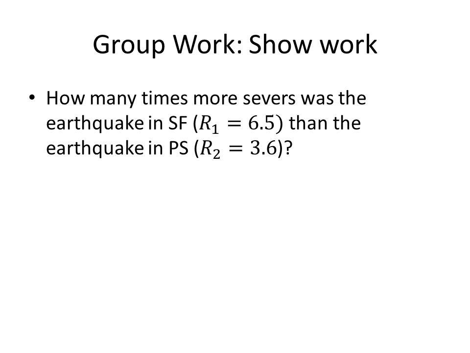 Group Work: Show work