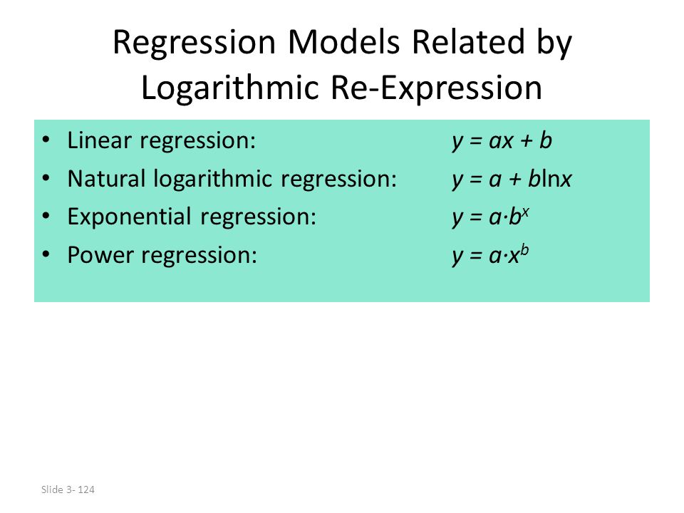 Slide 3- 124 Regression Models Related by Logarithmic Re-Expression Linear regression:y = ax + b Natural logarithmic regression:y = a + blnx Exponenti