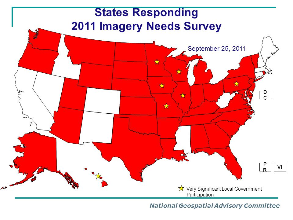 National Geospatial Advisory Committee Information Access Access to survey results was provided to NAIP Entire survey is available on line as a summary document or the detailed results can be filtered by the user No need for a dashboard Will post spreadsheet (CSV, Excel), Relational Database and PDF Summary