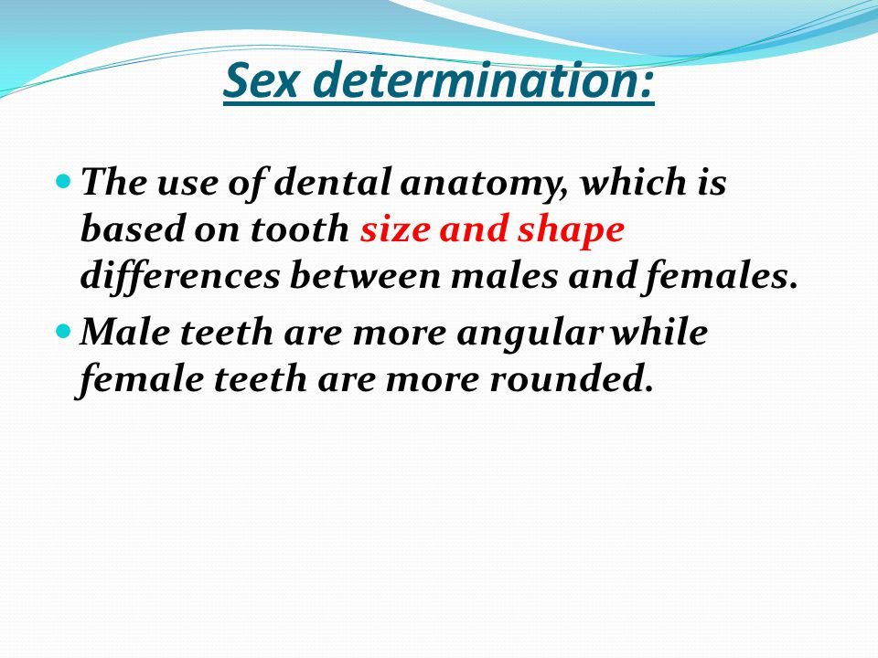 Sex determination: The use of dental anatomy, which is based on tooth size and shape differences between males and females.