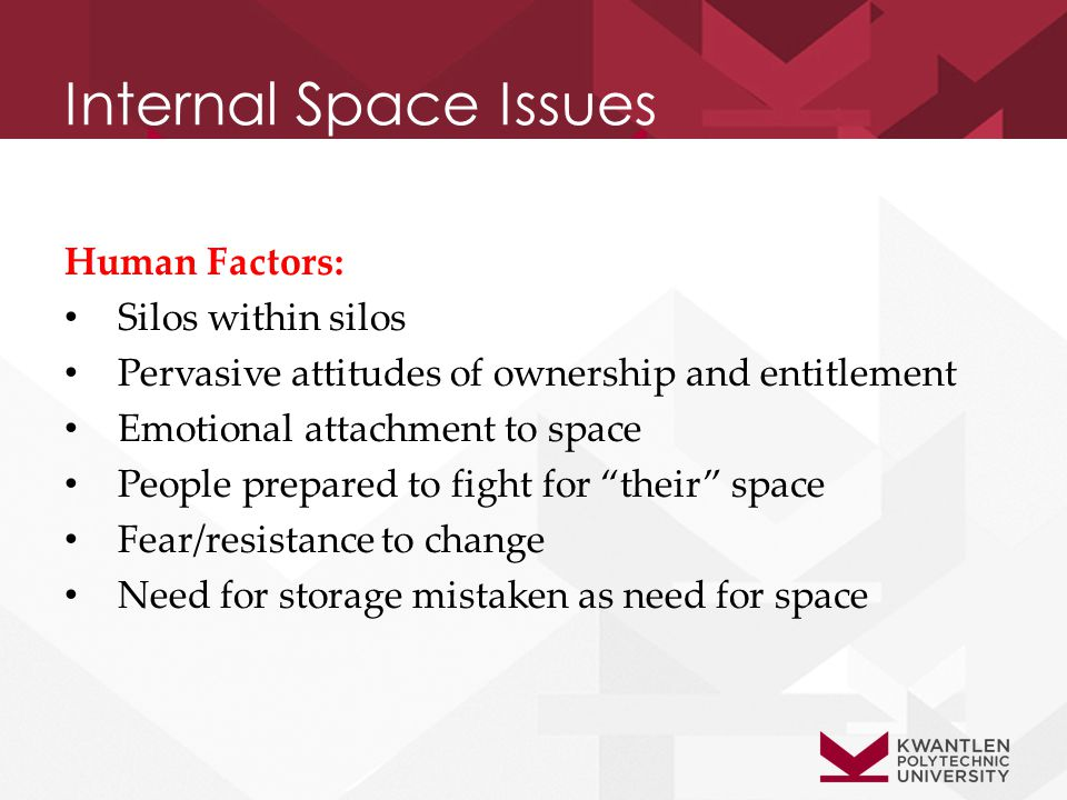 Internal Space Issues Human Factors: Silos within silos Pervasive attitudes of ownership and entitlement Emotional attachment to space People prepared to fight for their space Fear/resistance to change Need for storage mistaken as need for space
