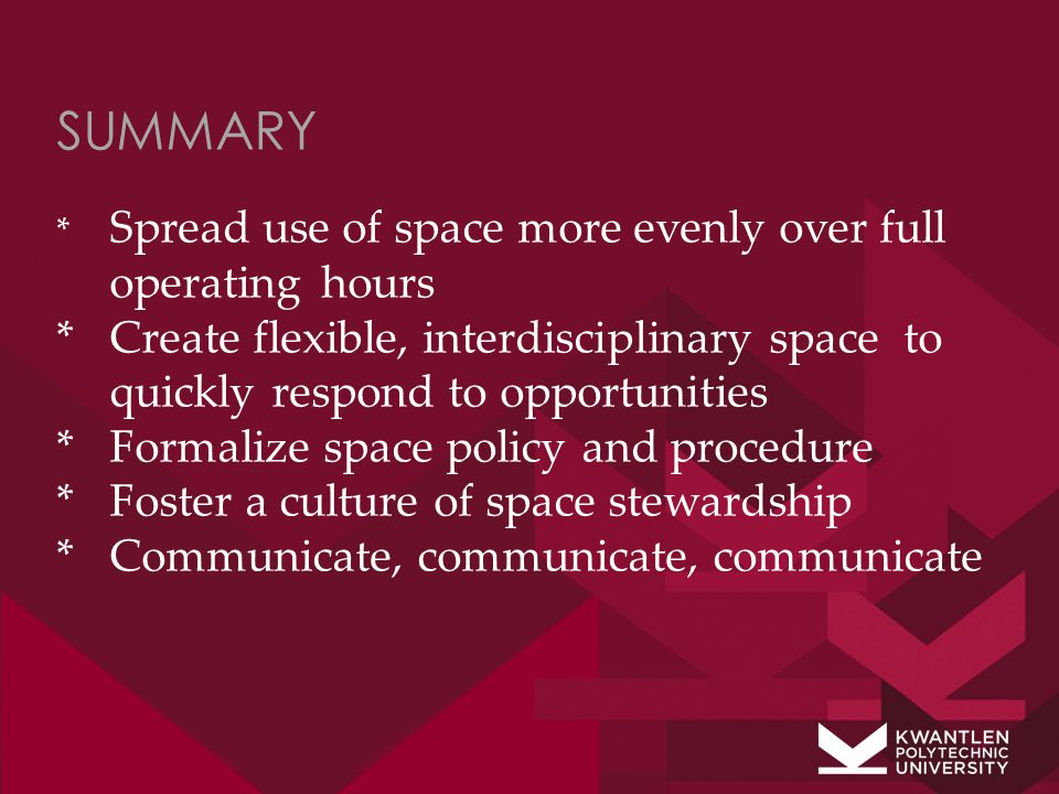 SUMMARY * Spread use of space more evenly over full operating hours * Create flexible, interdisciplinary space to quickly respond to opportunities *Formalize space policy and procedure *Foster a culture of space stewardship * Communicate, communicate, communicate