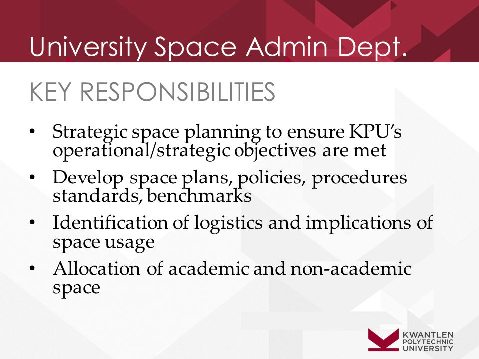University Space Admin Dept. KEY RESPONSIBILITIES Strategic space planning to ensure KPU's operational/strategic objectives are met Develop space plan