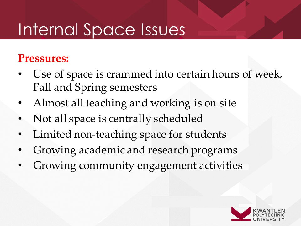 Internal Space Issues Pressures: Use of space is crammed into certain hours of week, Fall and Spring semesters Almost all teaching and working is on site Not all space is centrally scheduled Limited non-teaching space for students Growing academic and research programs Growing community engagement activities