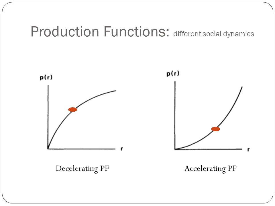 Production Functions: different social dynamics Decelerating PFAccelerating PF