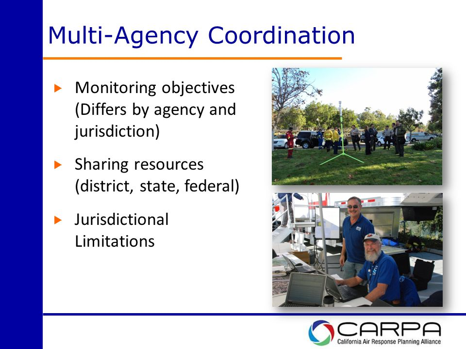 Multi-Agency Coordination  Monitoring objectives (Differs by agency and jurisdiction)  Sharing resources (district, state, federal)  Jurisdictional Limitations
