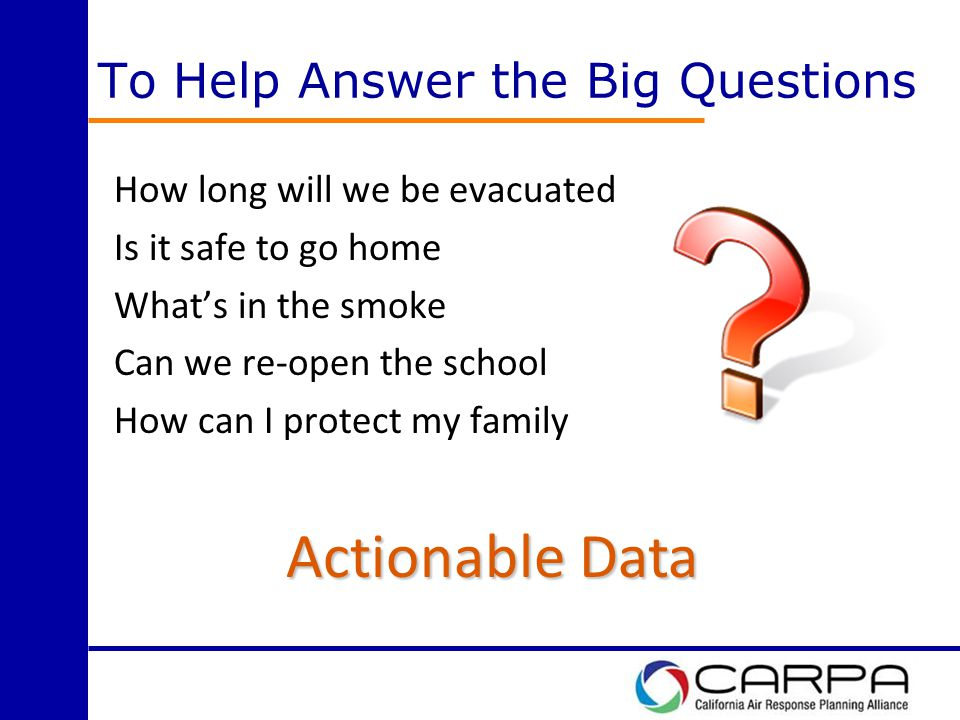 To Help Answer the Big Questions How long will we be evacuated Is it safe to go home What's in the smoke Can we re-open the school How can I protect my family Actionable Data