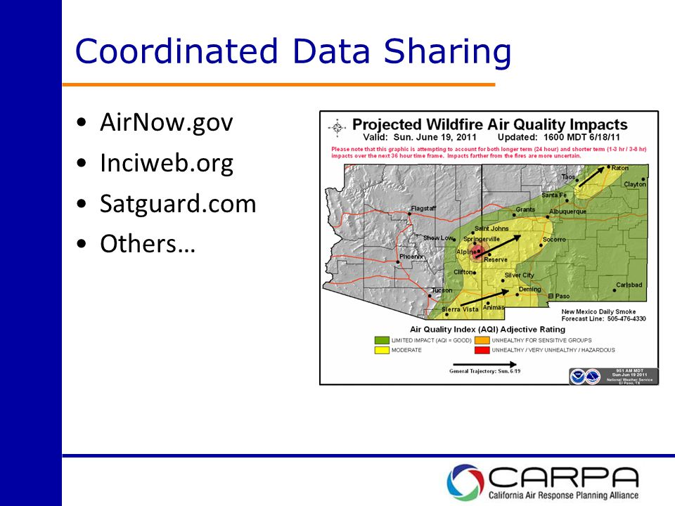 Coordinated Data Sharing AirNow.gov Inciweb.org Satguard.com Others…