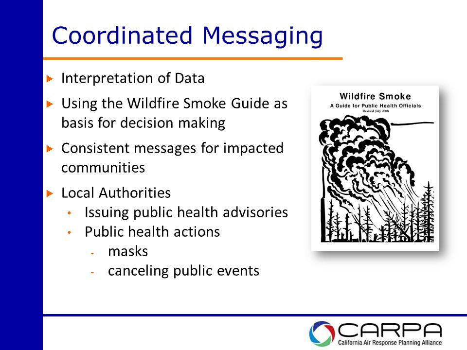 Coordinated Messaging  Interpretation of Data  Using the Wildfire Smoke Guide as basis for decision making  Consistent messages for impacted communities  Local Authorities Issuing public health advisories Public health actions - masks - canceling public events