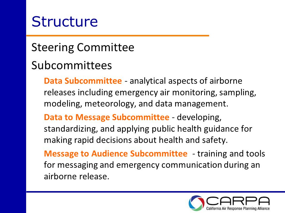 Structure Steering Committee Subcommittees Data Subcommittee - analytical aspects of airborne releases including emergency air monitoring, sampling, modeling, meteorology, and data management.
