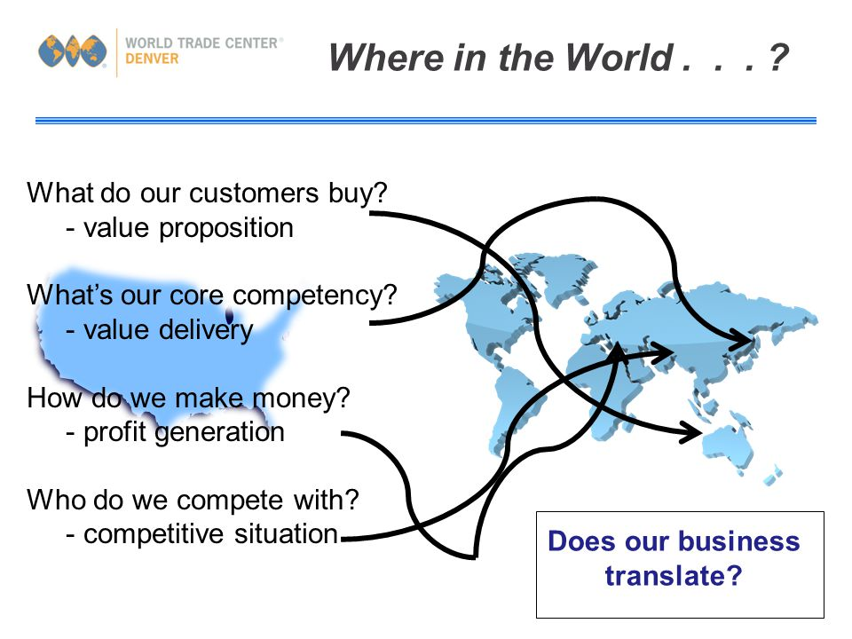 Where in the World... What do our customers buy. - value proposition What's our core competency.