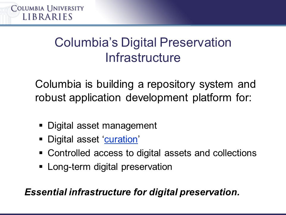 Columbia's Digital Preservation Infrastructure Columbia is building a repository system and robust application development platform for:  Digital asset management  Digital asset 'curation'curation  Controlled access to digital assets and collections  Long-term digital preservation Essential infrastructure for digital preservation.
