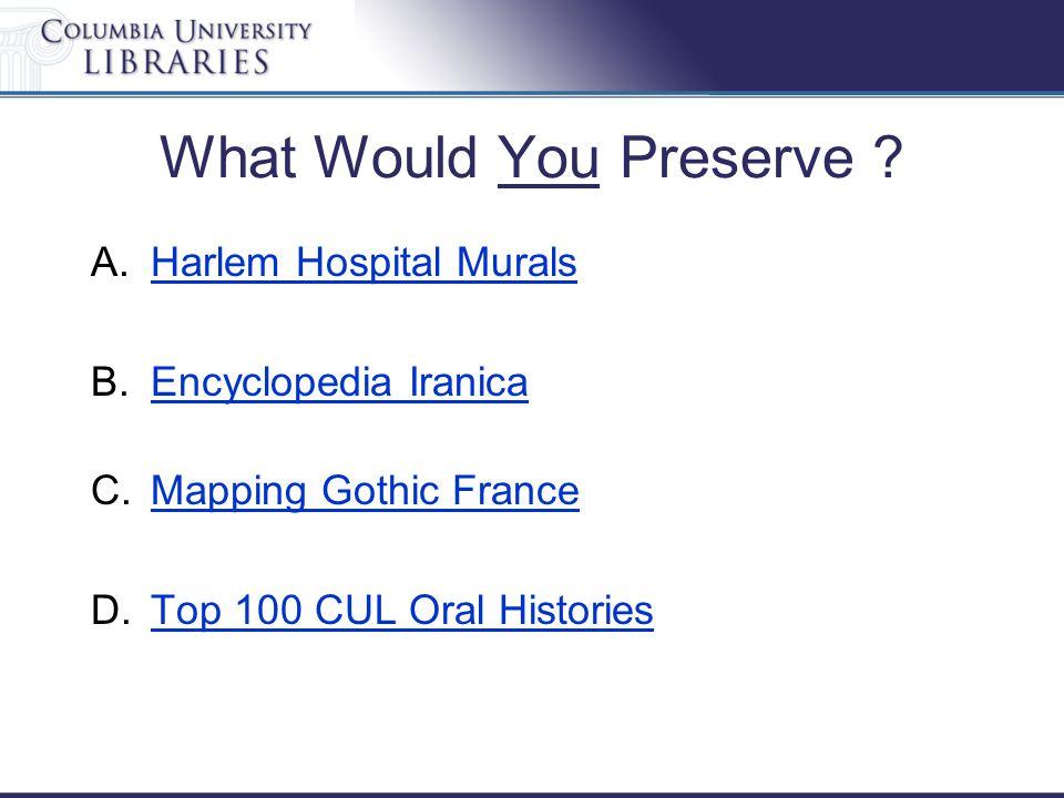 What Would You Preserve ? A.Harlem Hospital MuralsHarlem Hospital Murals B.Encyclopedia IranicaEncyclopedia Iranica C.Mapping Gothic FranceMapping Got