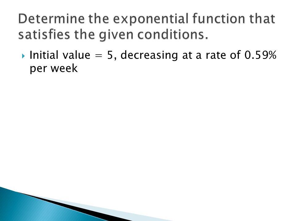  Initial value = 5, decreasing at a rate of 0.59% per week