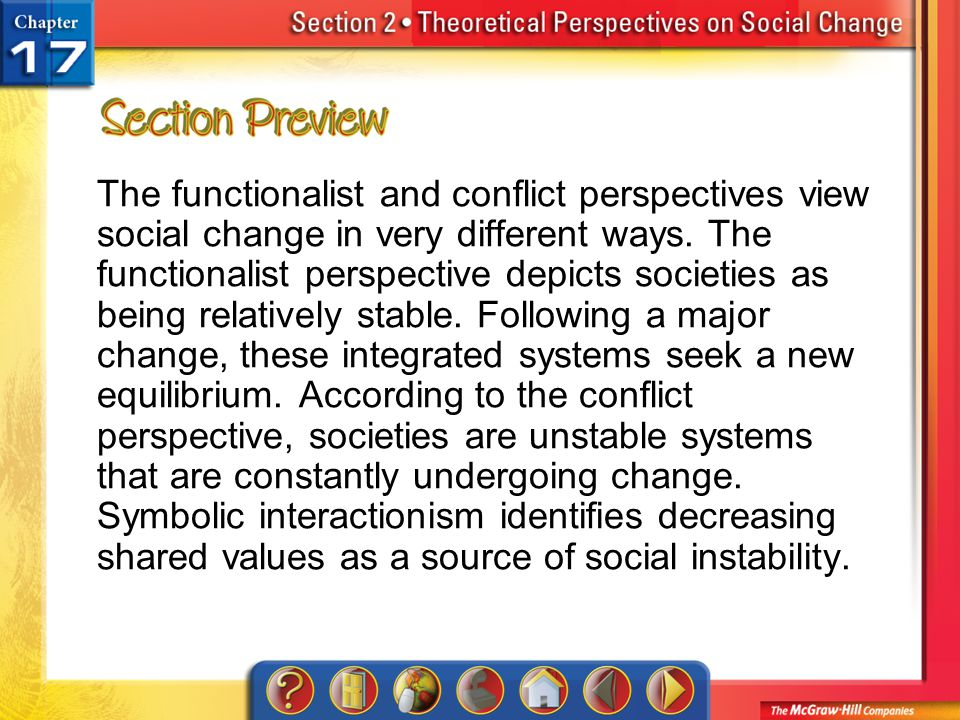 Section 2-Preview The functionalist and conflict perspectives view social change in very different ways. The functionalist perspective depicts societi