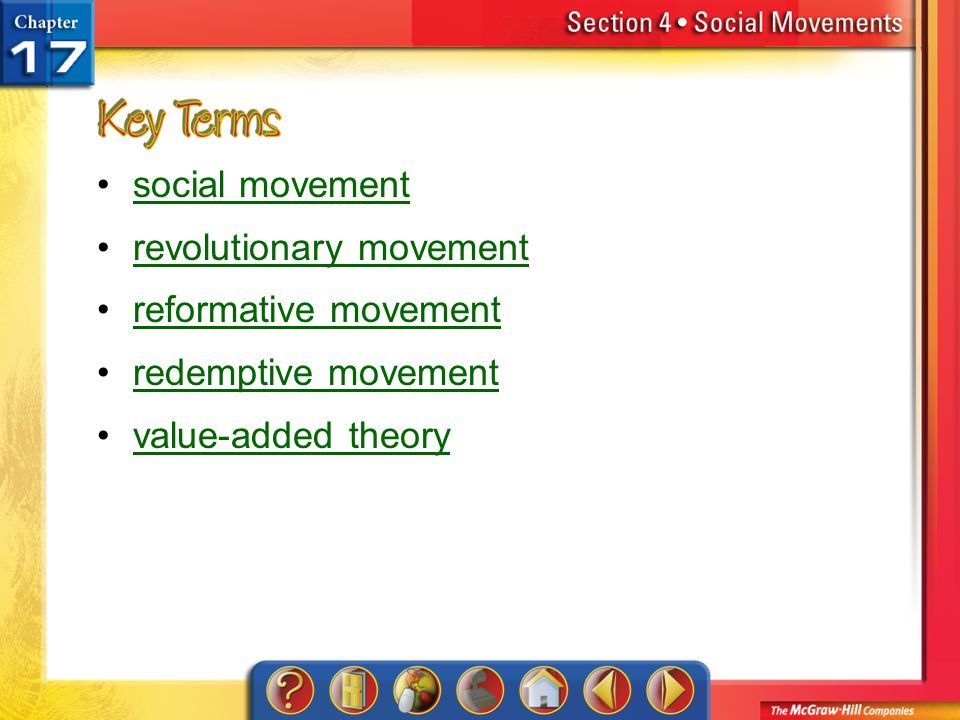 Section 4-Key Terms social movement revolutionary movement reformative movement redemptive movement value-added theory