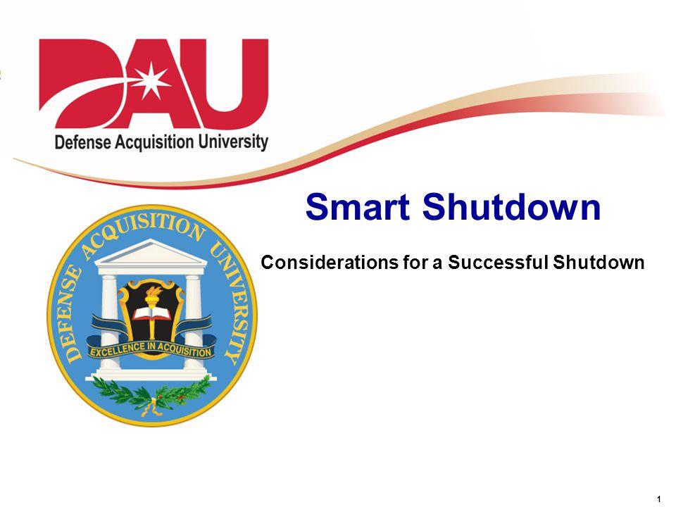 1 Smart Shutdown Considerations for a Successful Shutdown