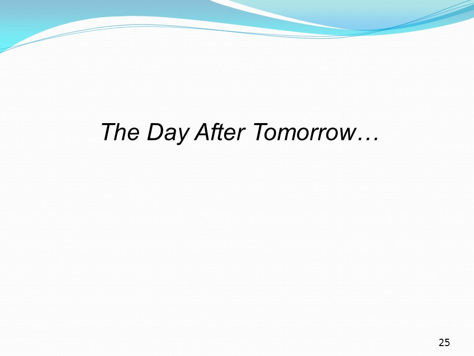 25 The Day After Tomorrow…